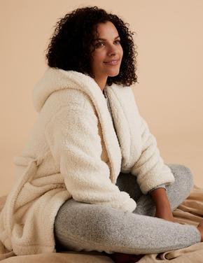 Kadın Bej Kuşaklı Polar Sabahlık