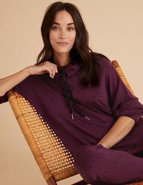 Kadın Bordo Flexifit™ Yıldız Desenli Pijama Üstü
