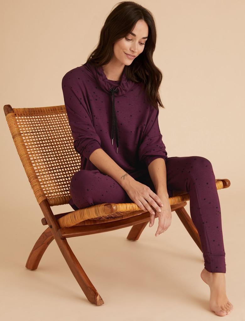 Kadın Mor Flexifit™ Yıldız Desenli Pijama Üstü