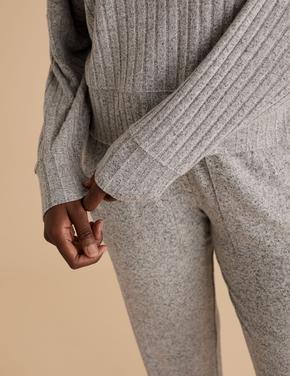 Kadın Gri Uzun Kollu Pijama Üstü
