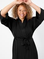 Kadın Siyah Saten Uzun Sabahlık