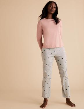 Kadın Gri Puantiyeli Pijama Takımı
