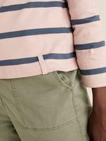 Kadın Pembe Saf Pamuklu Çizgili Bluz