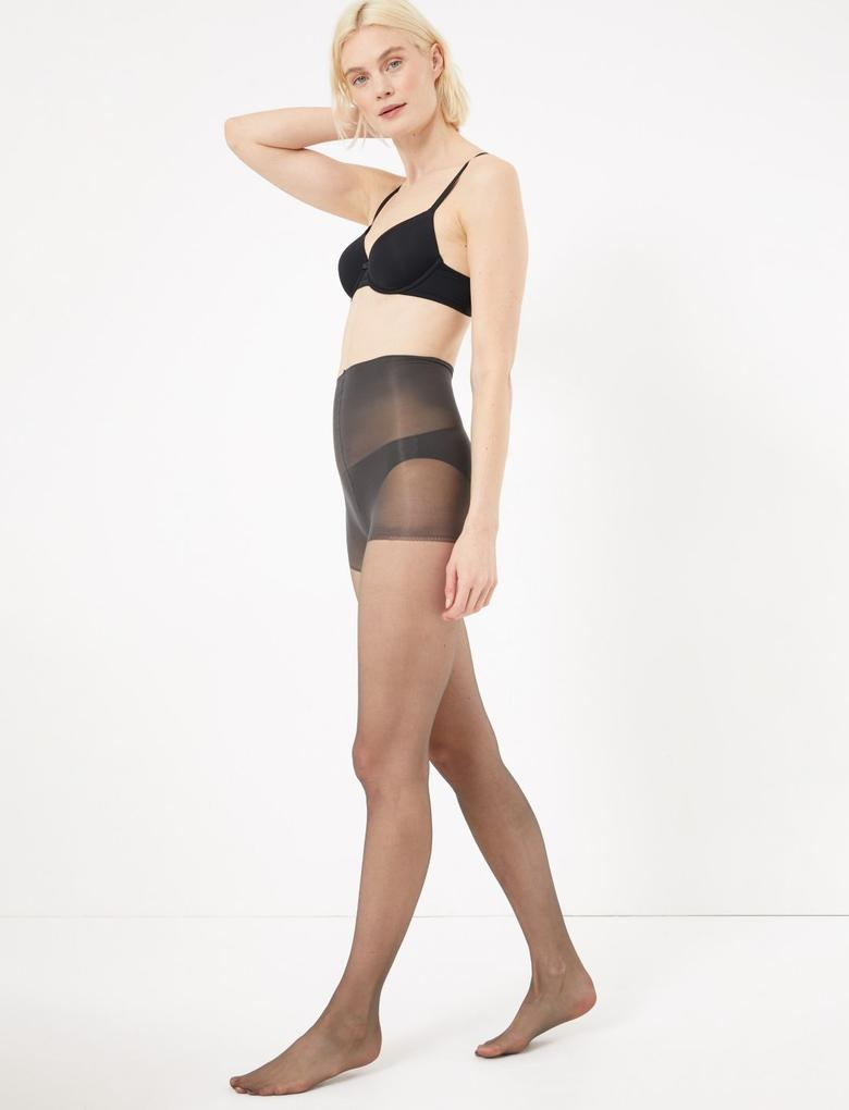 Kadın Siyah 2'li 7 Denye İnce Külotlu Çorap Seti
