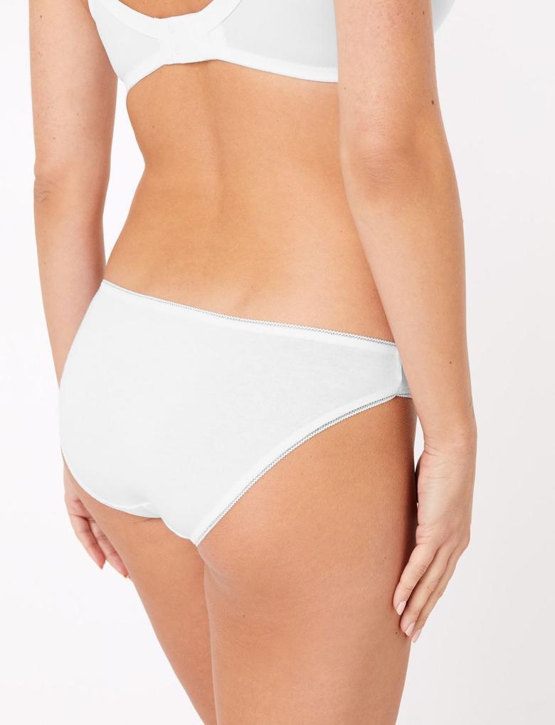 Kadın Beyaz 5'li Pamuklu Külot Seti (Yeni ve Geliştirilmiş Kumaş)