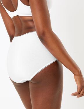 Kadın Beyaz 5'li Yüksek Bel Full Brief Külot Seti (Yeni ve Geliştirilmiş Kumaş)
