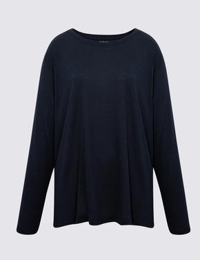 Kadın Lacivert Relaxed Uzun Kollu T-Shirt