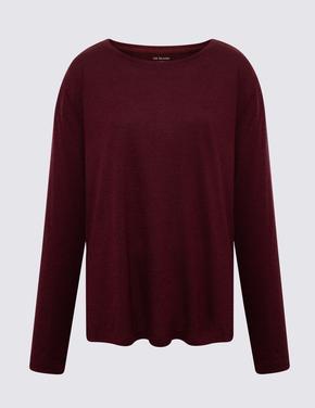 Kadın Bordo Relaxed Uzun Kollu T-Shirt