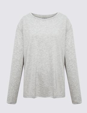 Kadın Gri Relaxed Uzun Kollu T-Shirt