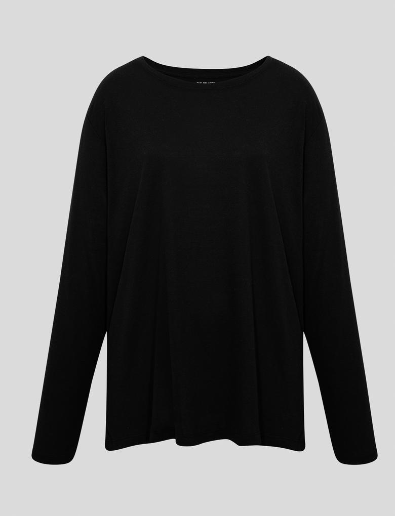Kadın Siyah Relaxed Uzun Kollu T-Shirt