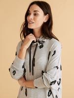 Kadın Gri Flexifit™ Desenli Pijama Üstü