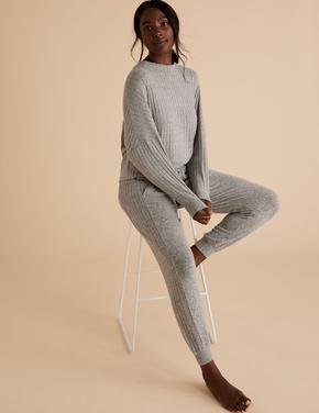 Kadın Gri Yumuşak Dokulu Pijama Altı