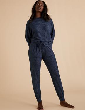 Kadın Lacivert Yumuşak Dokulu Pijama Altı