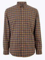 Erkek Kahverengi Saf Pamuklu Ekose Oxford Gömlek