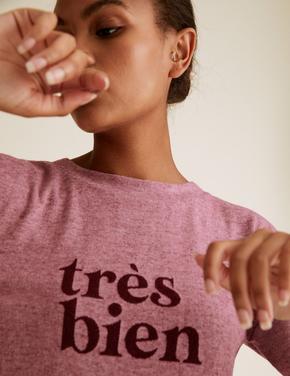 Kadın Mor Yuvarlak Yaka Sloganlı Sweatshirt