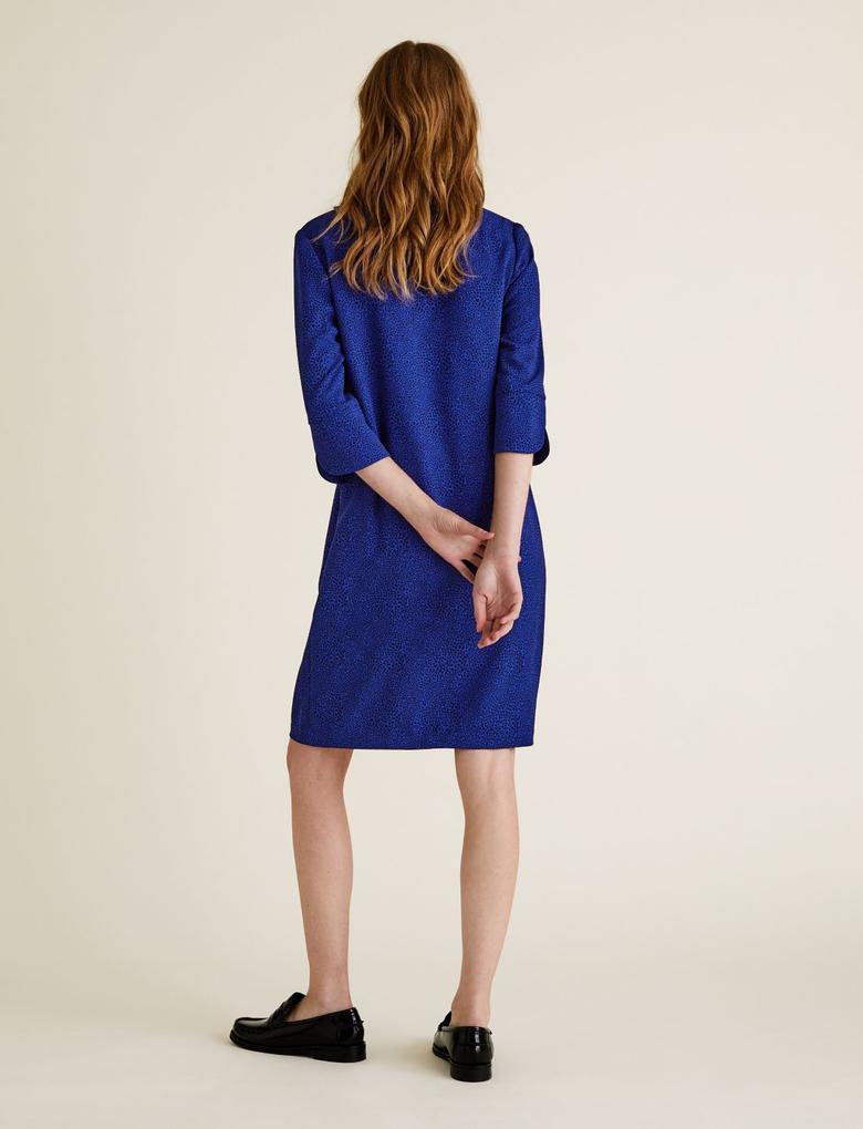 Kadın Mavi V Yaka Shift Elbise