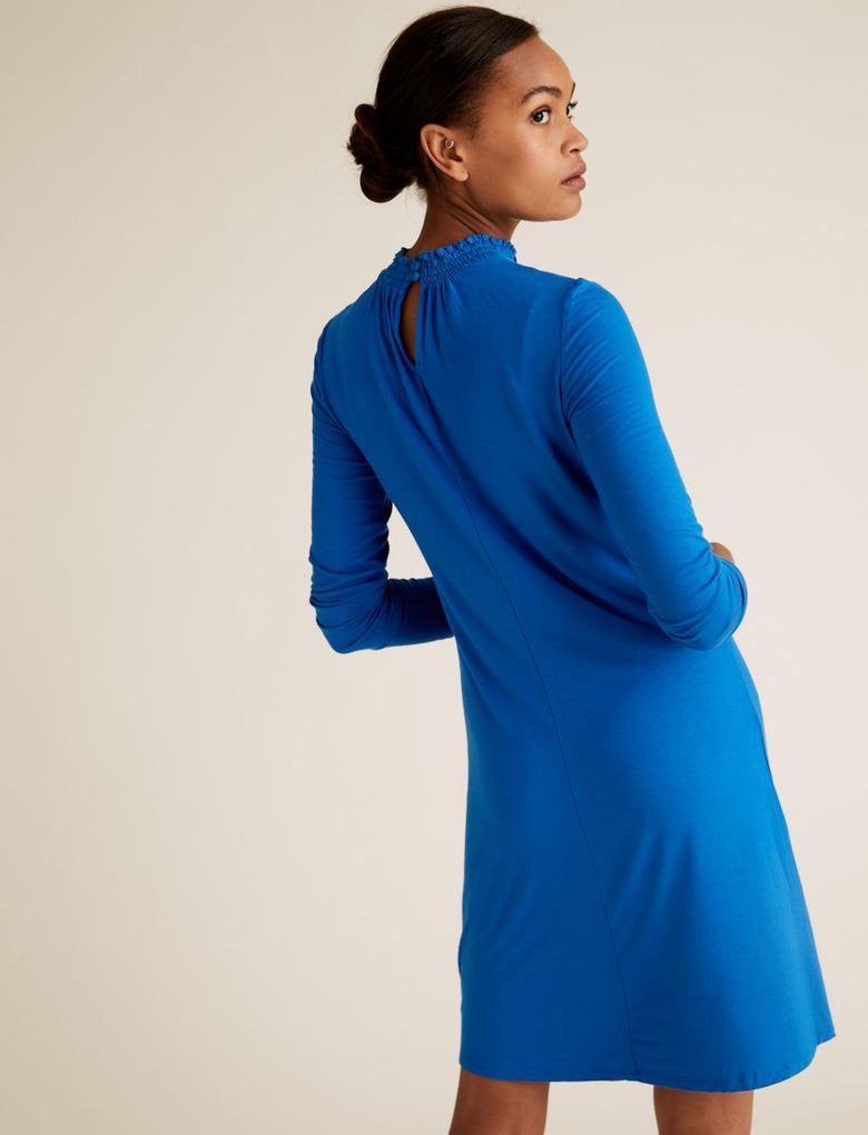 Kadın Mavi Uzun Kollu Jarse Elbise