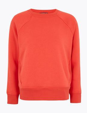 Kadın Kırmızı Yuvarlak Yaka Sweatshirt