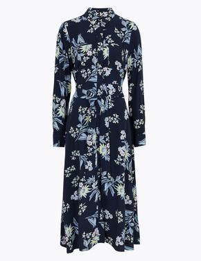 Kadın Lacivert Çiçek Desenli Midi Gömlek Elbise