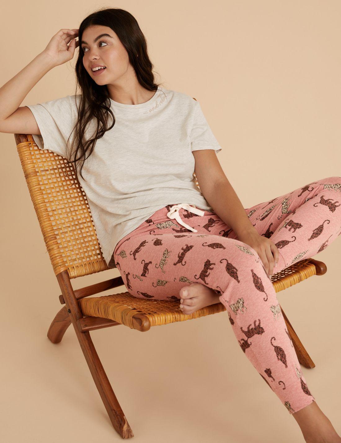 Pamuklu Kaplan Desenli Pijama Altı