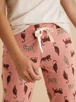 Kadın Pembe Pamuklu Kaplan Desenli Pijama Altı