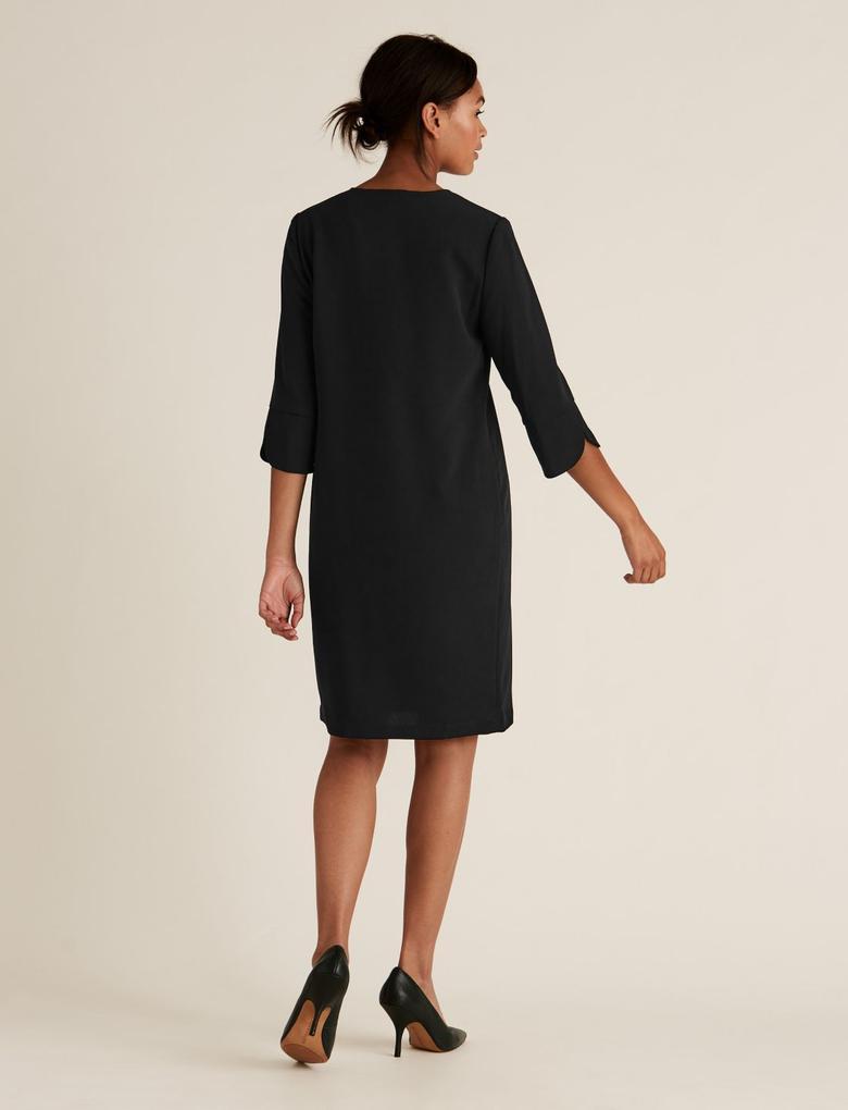 Kadın Siyah V Yaka Shift Elbise