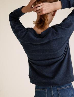 Kadın Lacivert Yuvarlak Yaka Sloganlı Sweatshirt