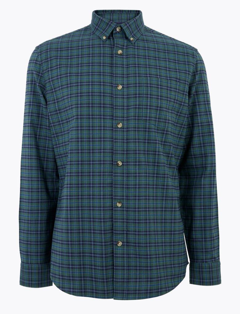 Erkek Yeşil Saf Pamuklu Ekose Oxford Gömlek