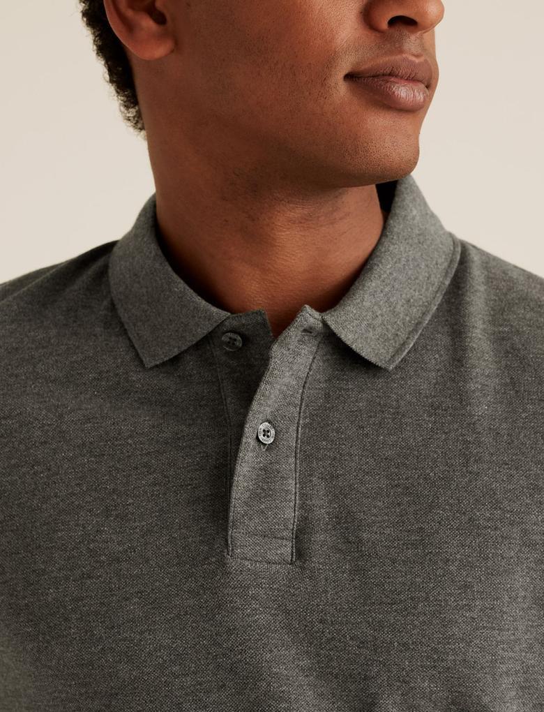Gri Saf Pamuklu Polo Yaka T-Shirt