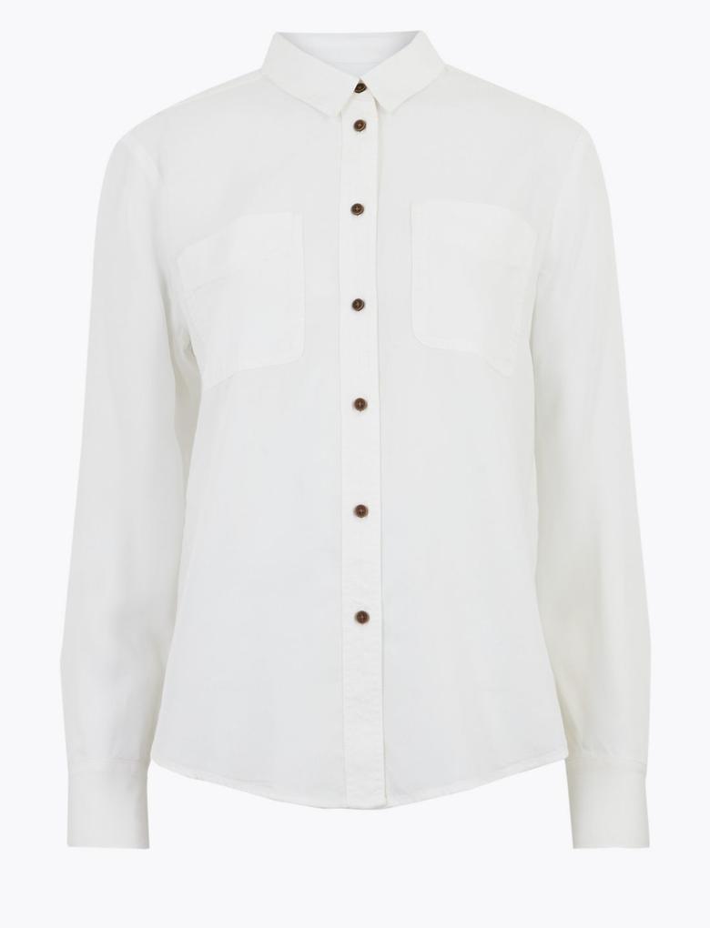 Kadın Beyaz Tencel ™ Düğme Detaylı Gömlek