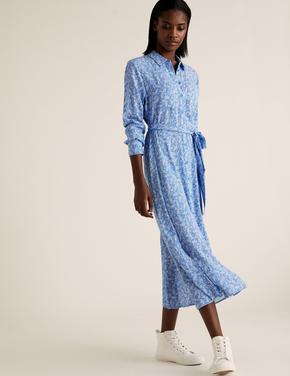 Kadın Siyah Desenli Midi Gömlek Elbise