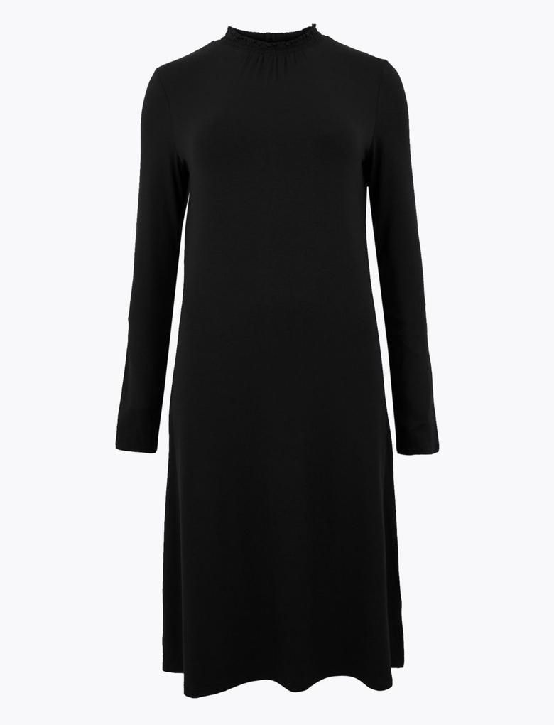 Kadın Siyah Uzun Kollu Jersey Swing Elbise