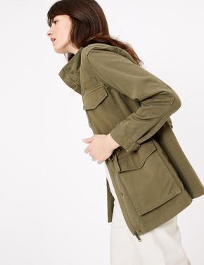 Kadın Yeşil Dik Yakalı Utility Ceket