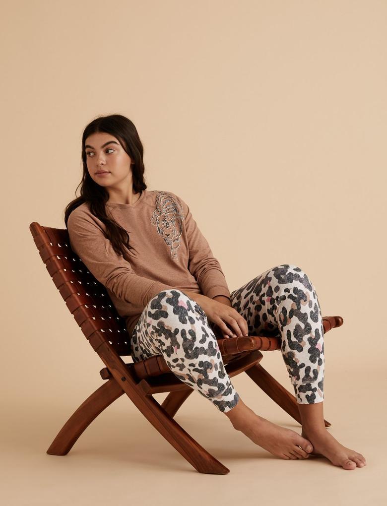 Kadın Bej Pamuklu Kamuflaj Desenli Pijama Altı