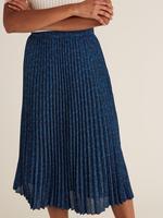 Kadın Mavi Desenli Pileli Etek
