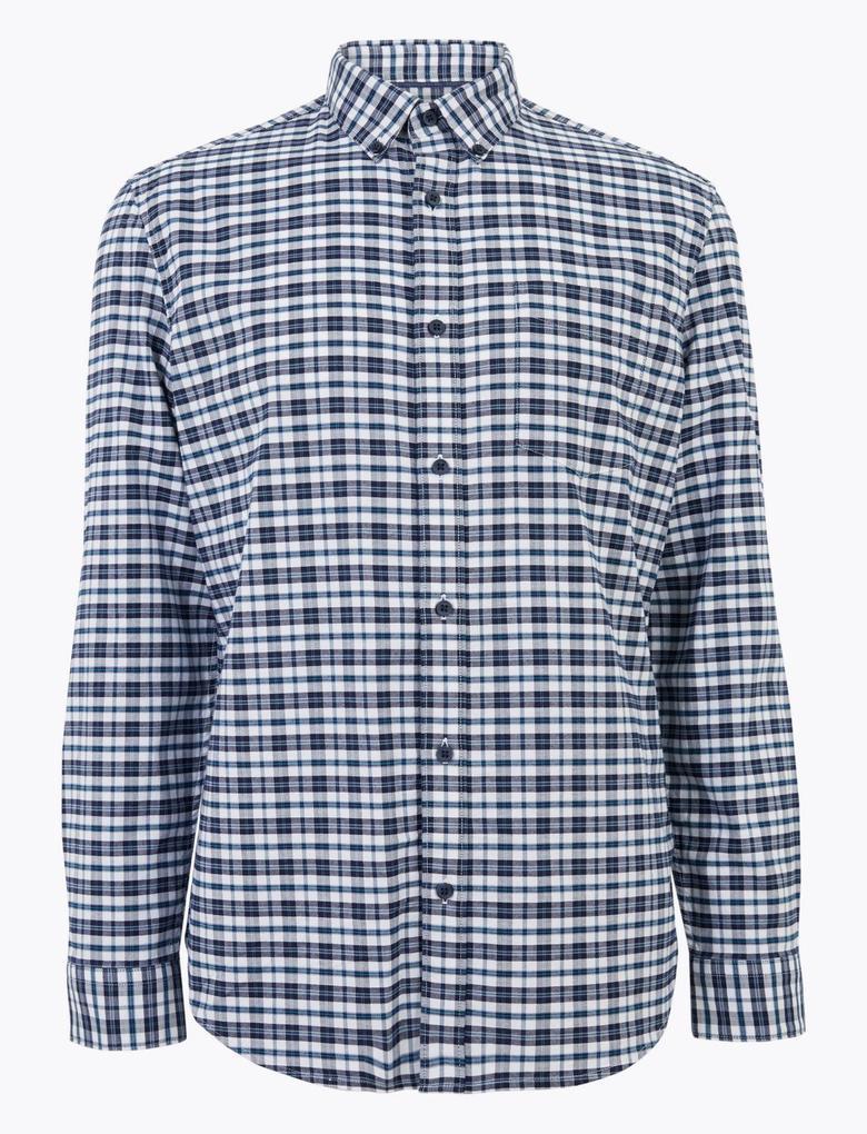 Erkek Lacivert Saf Pamuklu Ekose Oxford Gömlek