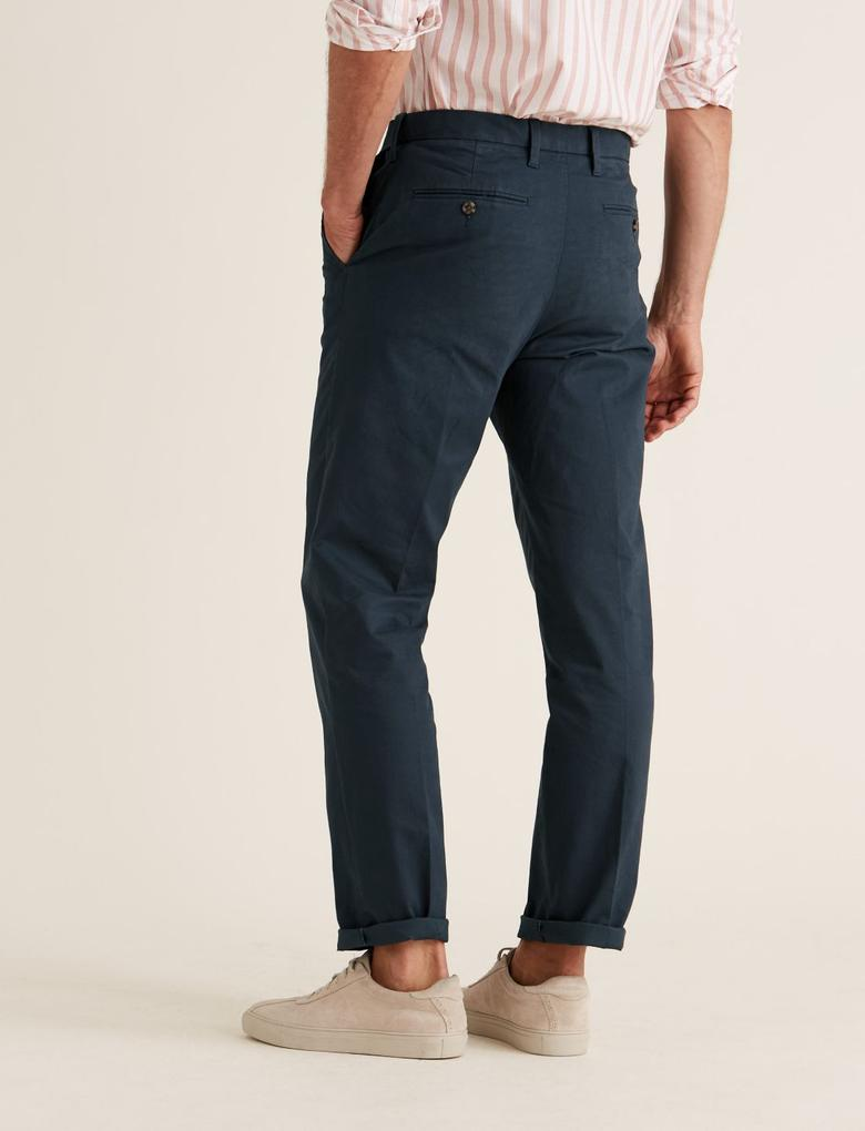 Lacivert Regular Fit Streç Chino Pantolon