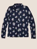 Kadın Lacivert Çiçek Desenli Uzun Kollu Gömlek