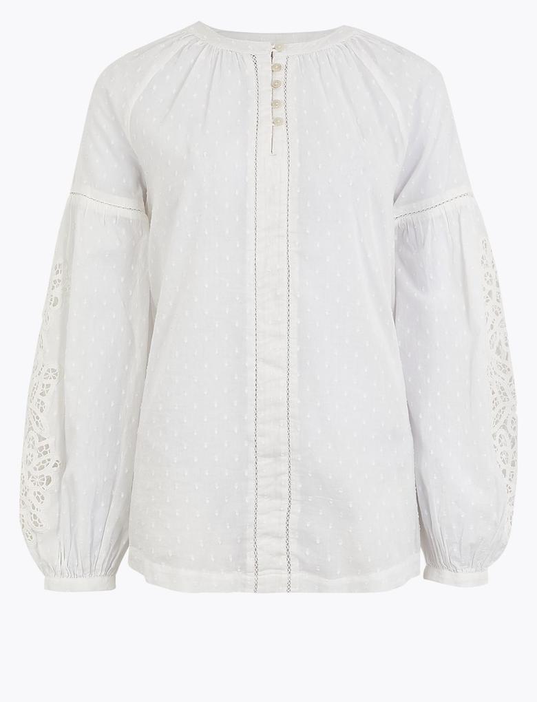 Beyaz Saf Pamuklu İşlemeli Bluz