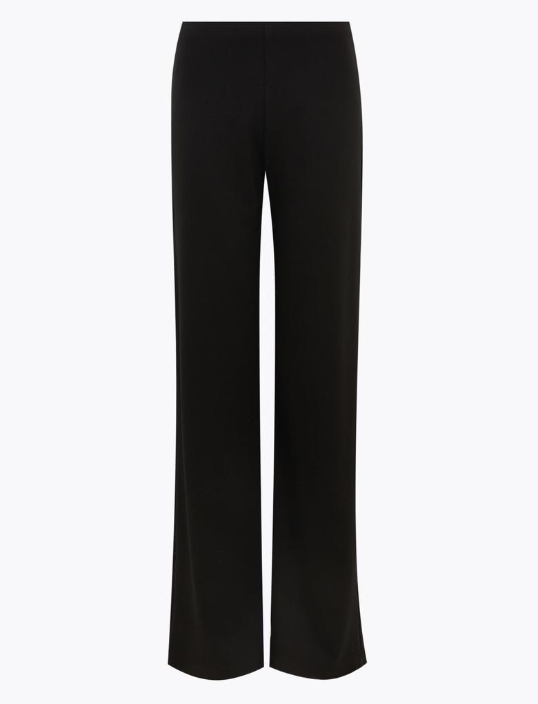 Kadın Siyah Jarse Wide Leg Pantolon