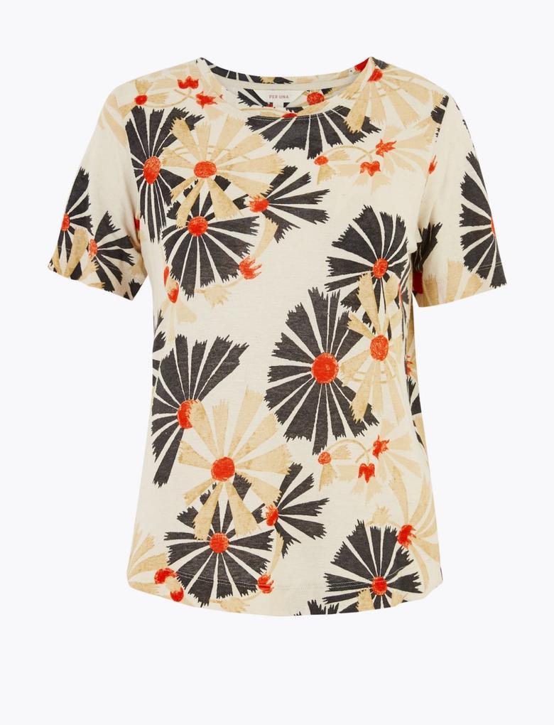 Gri Desenli T-Shirt