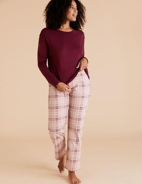 Kadın Mor Saf Pamuklu Ekose Pijama Takımı