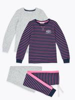 Çocuk Koyu lacivert 2'li Desenli Pijama Seti