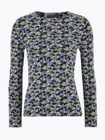 Kadın Lacivert Çiçek Desenli Uzun Kollu T-Shirt
