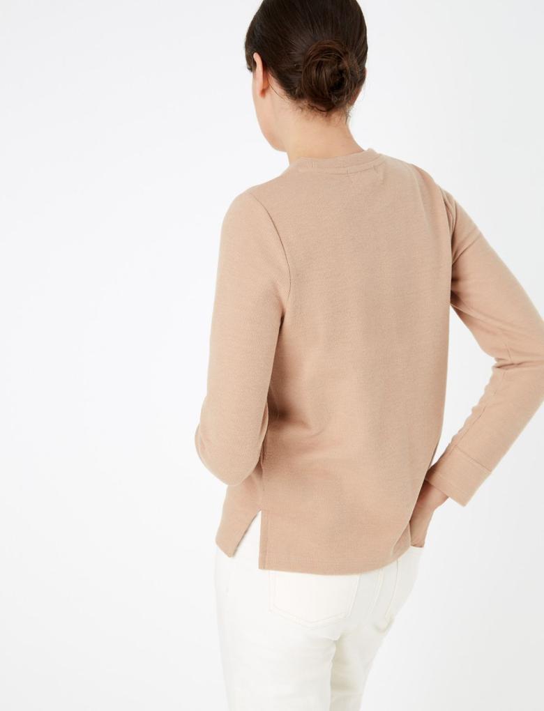 Kadın Renksiz Pamuklu Straight Fit Sweatshirt