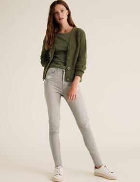 Kadın Yeşil Yün Karışımlı Kalın Örgü Hırka