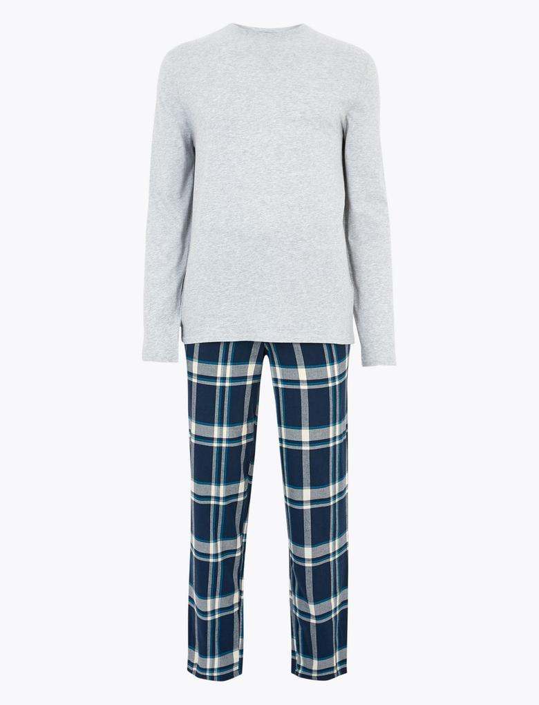 Erkek Gri Ekose Pijama Takımı
