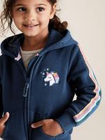 Kız Çocuk Lacivert Unicorn İşlemeli Kapüşonlu Sweatshirt