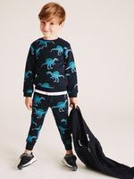Erkek Çocuk Lacivert Pamuklu Dinozor Desenli Eşofman Altı