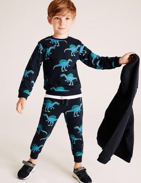 Erkek Çocuk Lacivert Pamuklu Dinozor Desenli Sweatshirt